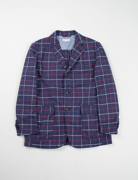 Navy/Red/White Windowpane Baker Jacket