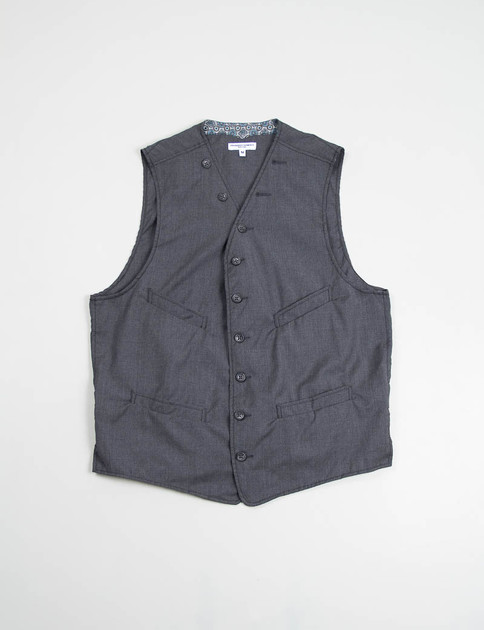 Grey Tropical Wool Cinch Vest