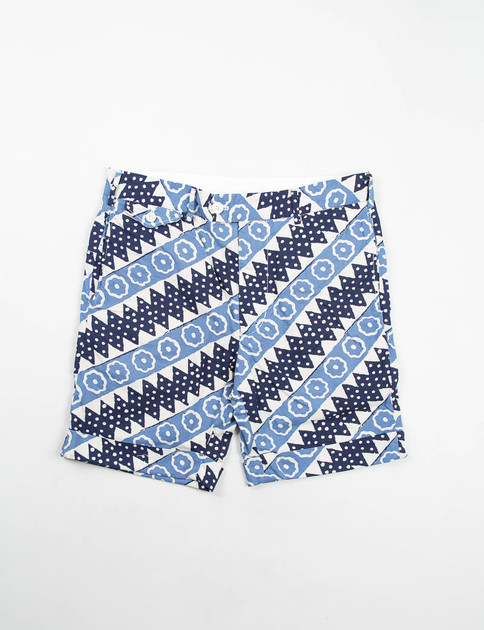 Light Blue Batik Diagonal Stripe Cambridge Short