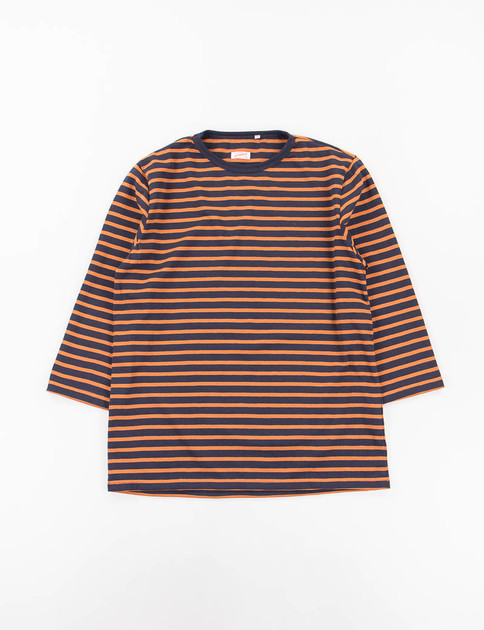 Navy/Orange Open End Cotton Jersey Brehat Tee