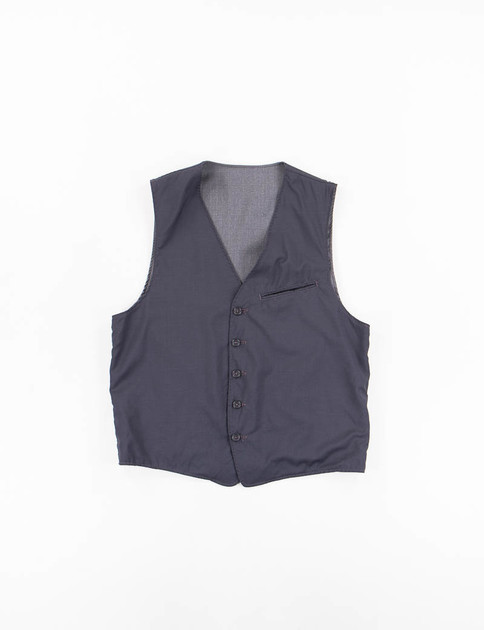 Navy Tropical Wool Reversible Vest