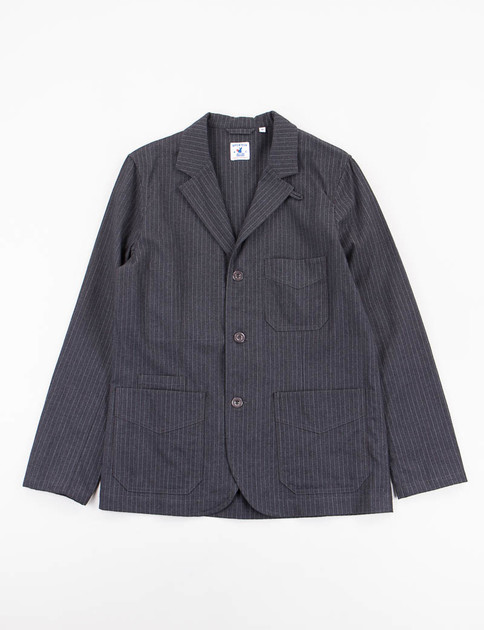 Charcoal Striped Wool Flannel Villefranche Jacket