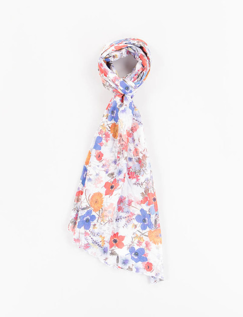 White Multi Floral Sheeting Long Scarf