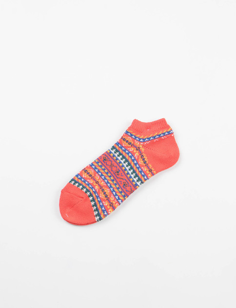 Red Pattern Ankle Socks