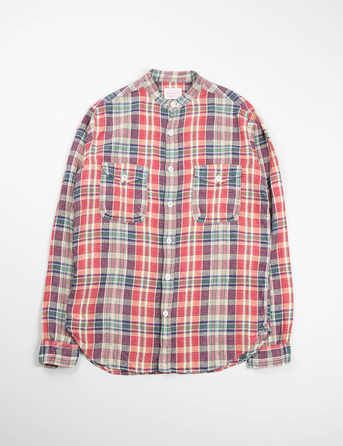 Red/Navy Plaid Banded Collar Mill Shirt