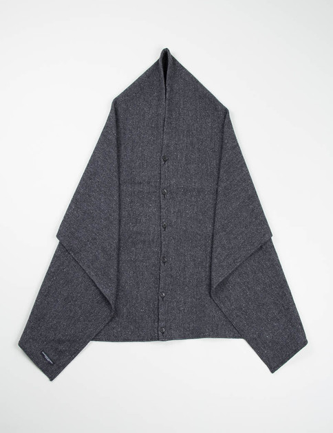 Dark Grey 13oz Herringbone Button Shawl