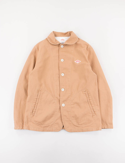 Tan Cotton Twill Round Collar Jacket