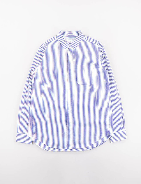 Navy Wide Stripe Broadcloth Short Collar Shirt