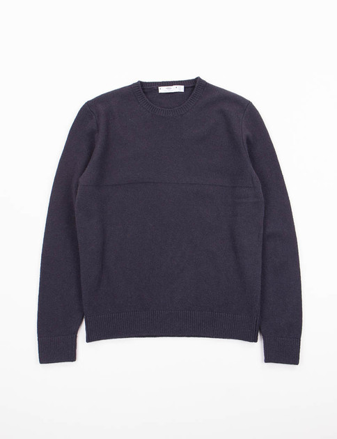Bleu Purl Yoke Crew Neck Sweater