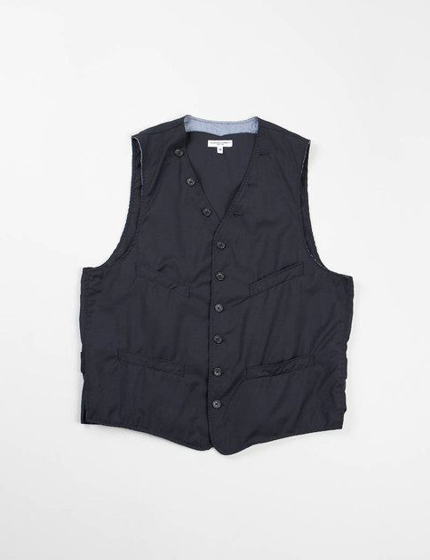 Navy Tropical Wool Cinch Vest