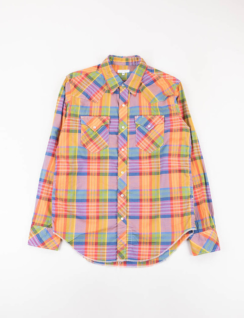 Orange/Blue/Red Madras Plaid Western Shirt