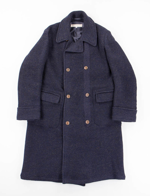 Navy Double Breasted Knit Coat