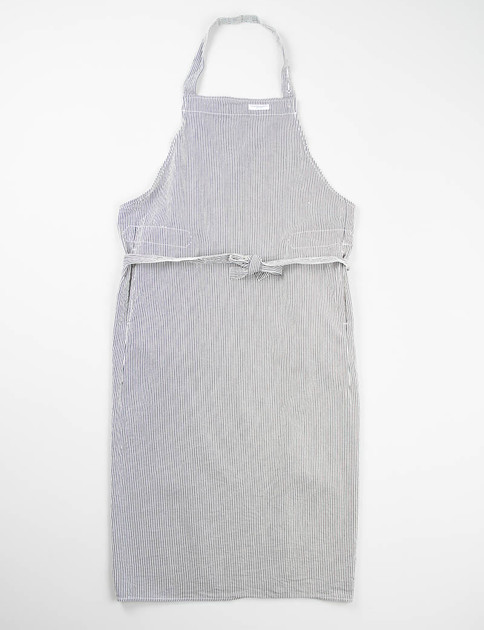 Navy Seersucker Stripe Long Apron