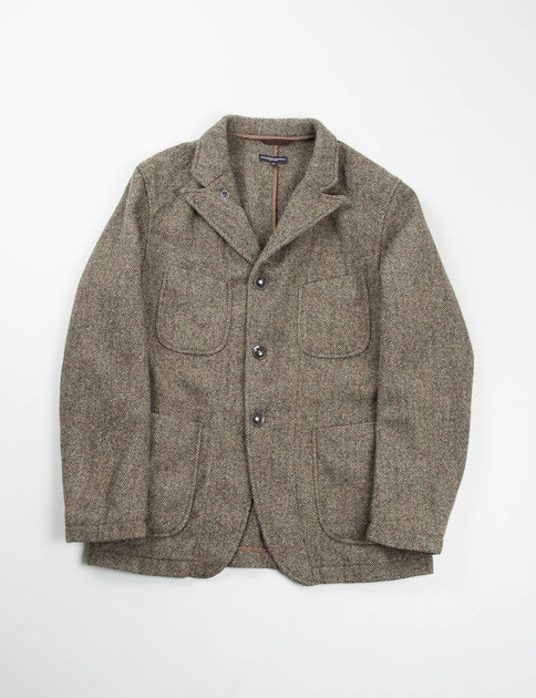 Brown/Green Wool Herringbone Bedford Jacket