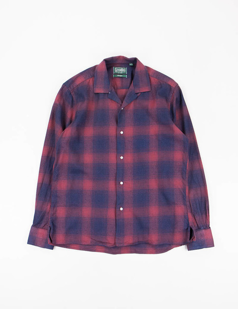 Burgundy Japanese Flannel Check Camp Shirt