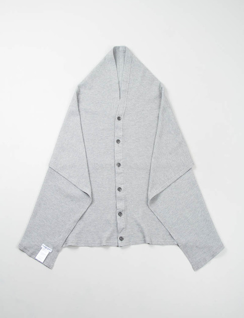 Grey Thermal Knit Button Shawl
