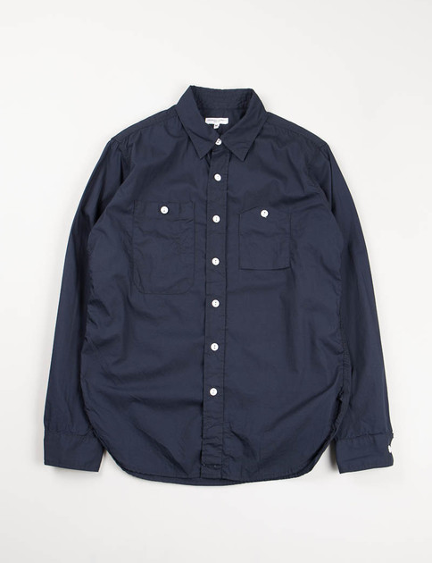 Dark Navy Pima Poplin Work Shirt