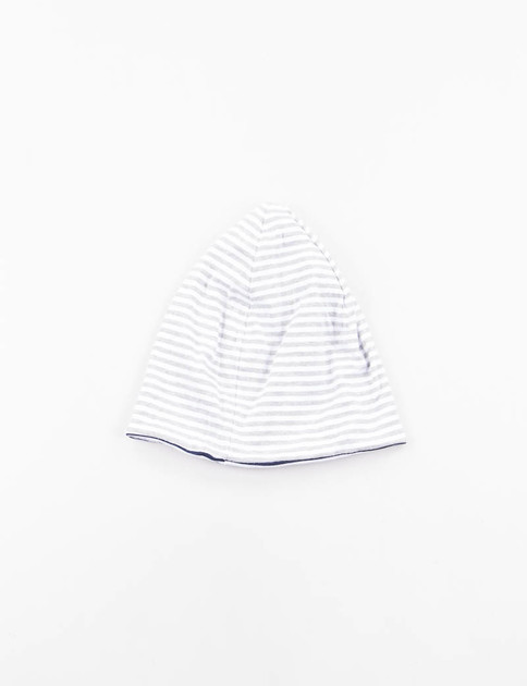Grey White Stripe Jersey Reversible Beanie Cap