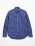 Navy Tartan Brushed Poplin Key Collar Shirt